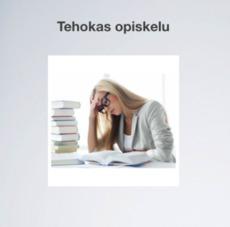 Tehokas opiskelu oppaan kansikuva, jossa nainen lukemassa kirjaa korkean kirjapinon vieressä